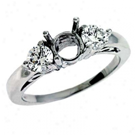 14k White 3 Stone Round 0.66 Ct Diamond Engagementt Ring