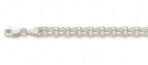 14k White 3.5 Mm Charm Bracelet - 7 Inch