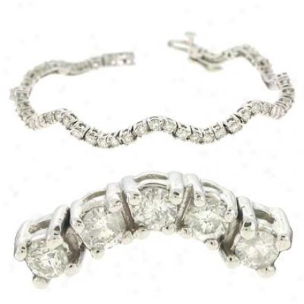 14k White 3.72 Ct Dizmond Bracelet