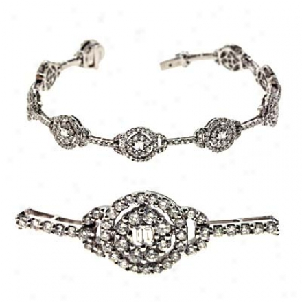14k White 3.8 Ct Diamond Bracelet