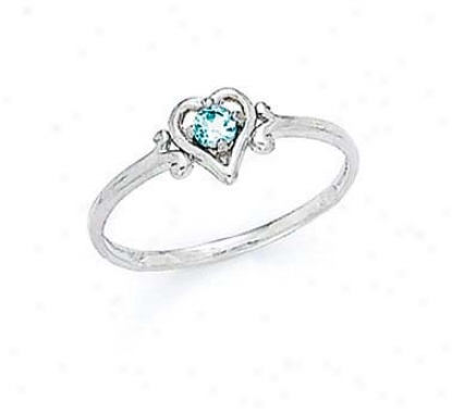 14k White 3mm Aquamarine Heart Ring