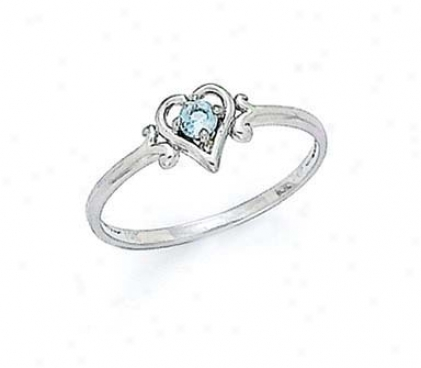 14k White 3mm Blue Topaz Heart Ring