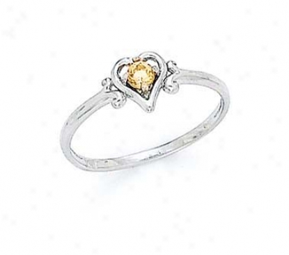 14k White 3mm Citrine Heart Resonance