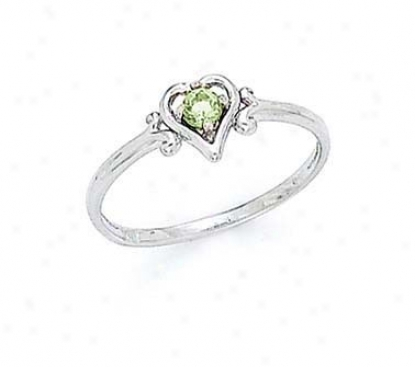 14k White 3mm Peridot Heart Ring