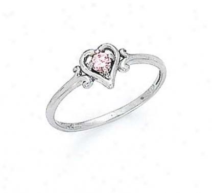 14k White 3mm Pink Tourmaline Heart Ring