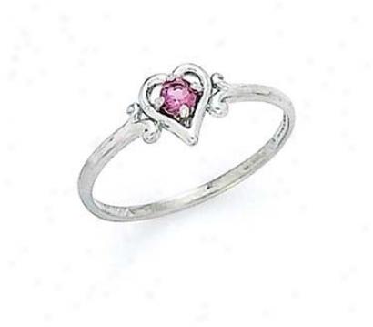 14k White 3mm Rhodolite Heart Ring