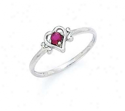 14k Of a ~ color 3mm Ruby Heart Ring