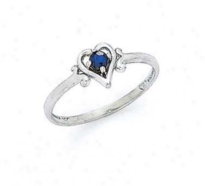 14k White 3mm Sapphire Heart Ring
