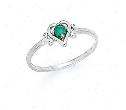 14k White 3mm White Emerald Heeart Ring