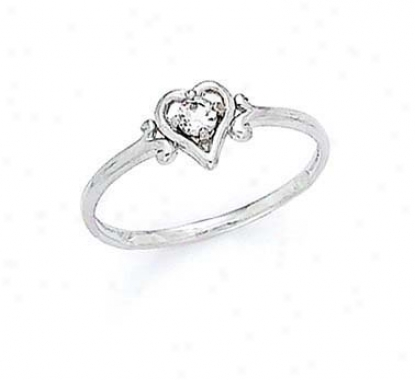 14k White 3mm White Topaz Heart Ring