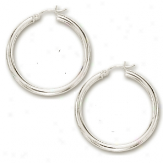 14k White 3x30 Mm Bold Shiny Hoop Earrings