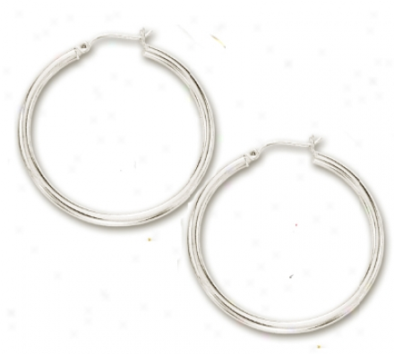 14k White 3x40 Mm Bold Shiny Hoop Earrings