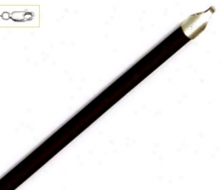 14k White 4 Mm Circuit Black Rubber Neckllace - 18 Inch