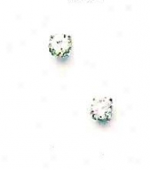 14k White 4 Mm Round Cz Friction-back Post Stud Earrings