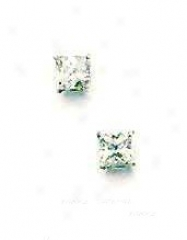 14k White 4 Mm Square Cz Friction-back P0st Stud Earrings
