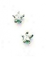 14k White 4 Mm Star Cz Friction-back Post Stud Earrings
