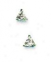 14k White 4 Mm Trilliant Cz Friction-back Post Stud Earrings