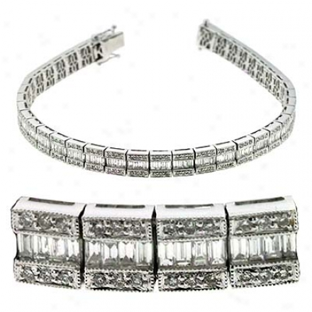 14k White 4.25 Ct Diamond Bracelet