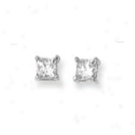 14k White 4mm Square Cz Earrings