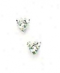 14k White 5 Mm Heart Cz Fiction-back Post Stud Earrings