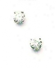 14k White 5 Mm Round Cx Friction-back Post Knob Earrings