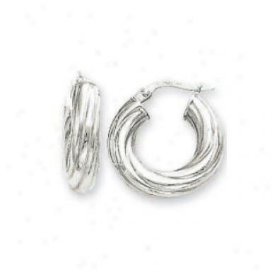 14k White 5 Mm Small Eddy Hoop Earrings