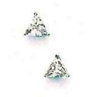 14k White 5 Mm Trilliant Cz Friction-back Post Stud Earrings
