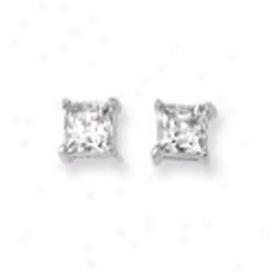 14k White 5mm Square Cz Earrings