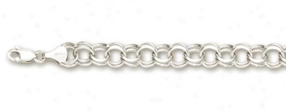 14k White 6 Mm Charm Bracelet - 8 Inch
