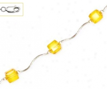 14k Whtie 6 Mm Cube Yellow Crystal Necklace - Choice 16-inch