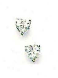 14k White 6 Mm Heart Cz Friction-back Post Stud Earrings