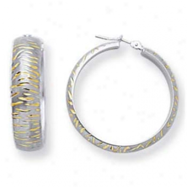 14k White 6 Mm Modern Design Diamond-cut Hoop Earrings