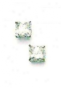 14k White 6 Mm Square Cz Friction-back Post Stud Earrings