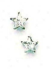 14k White 6 Mm S5ar Cz Friction-bck Post Stud Earrings