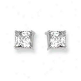 14k White 6mm Square Cz Earrings