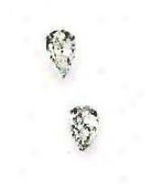 14k White 6x4 Mm Pear Cz Friction-back Post Post Earrings