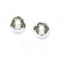 14k White 7 Mm Ball Friction-back Post Stud Earrings