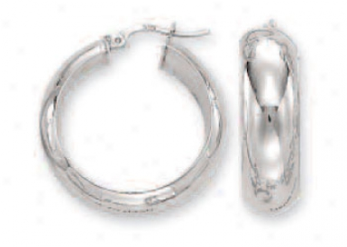 14k White 7 Mm Bold Mirror Hoop Earrings