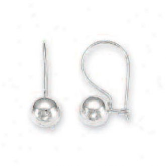 14k White 7 Mm French Wire Ball Earrings