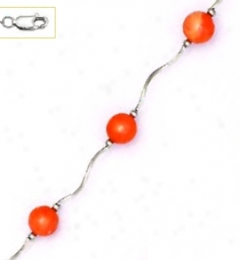 14k White 7 Mm Round Coral-orange Crystal Pearl Necklace - Ch