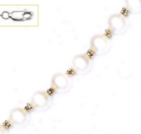 14k White 7 Mm Round White Crystal Pearl Necklace