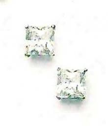 14k White 7 Mm Square C Feiction-back Post Stud Earrings