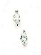 14k White 7x4 Mm Marquise Cz Post Stud Earrings