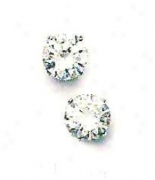 14k Wnite 8 Mm Round Cz Friction-back Post Post Earringa