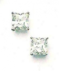 14k White 8 Mm Perpendicular Cz Friction-back Post Stud Earrings