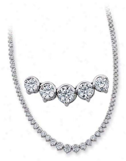 14k White 8.59 Ct Diamond Necklace