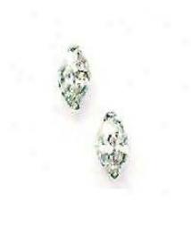 14k White 8x4 Mm Marquise Cz Messenger Stud Earrings
