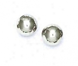 14k White 9 Mm Ball Friction-back Post Stud Earrings