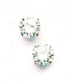 14k White 9 Mm Round Cz Friction-back Post Stud Earrings