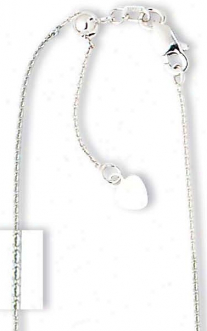 14k White .90 Mm Adjustable Cable Chain Necklace - 22 Inch